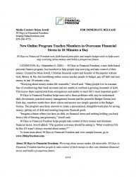 30 Days to Financial Freedom Press Release